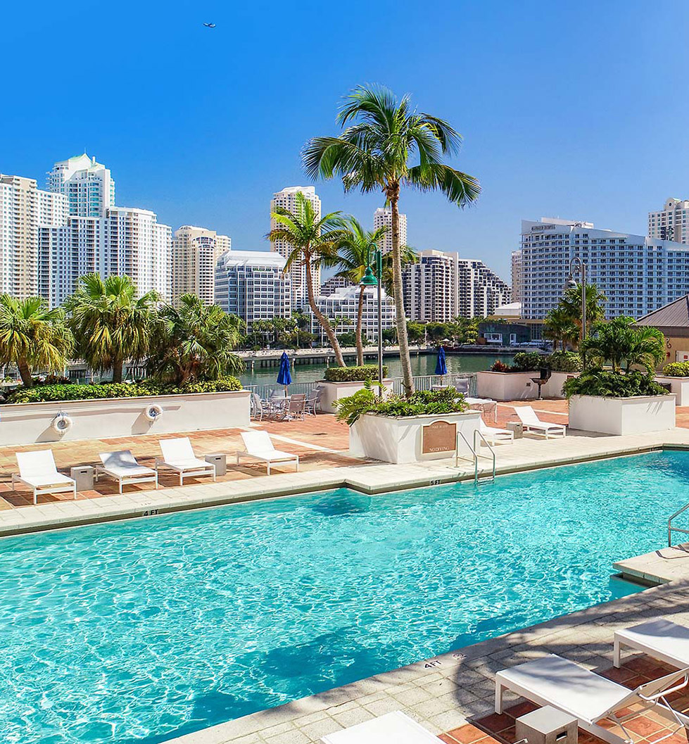 Yacht Club Apartments - Miami, FL - Pool and City View